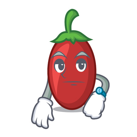 Waiting goji berries mascot cartoon vector illustration Vectores