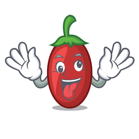 Crazy goji berries mascot cartoon vector illustration Illustration