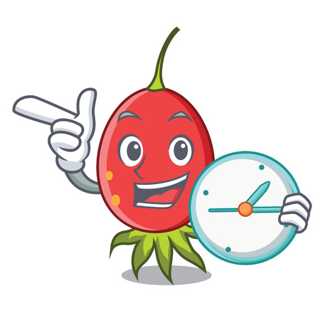With clock rosehip character cartoon style vector illustration