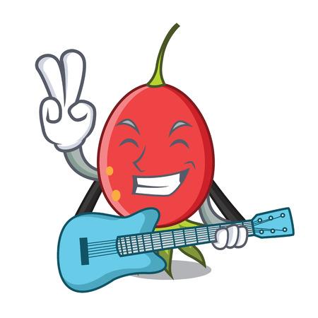 With guitar rosehip mascot cartoon style vector illustration Stock Illustratie