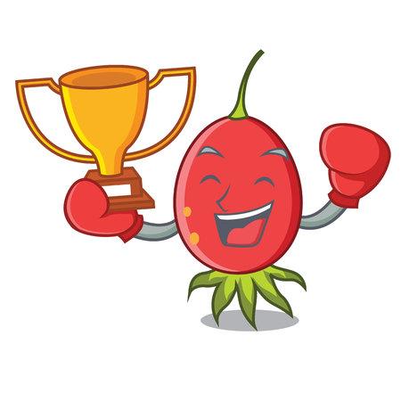 Boxing winner rosehip mascot cartoon style vector illustration