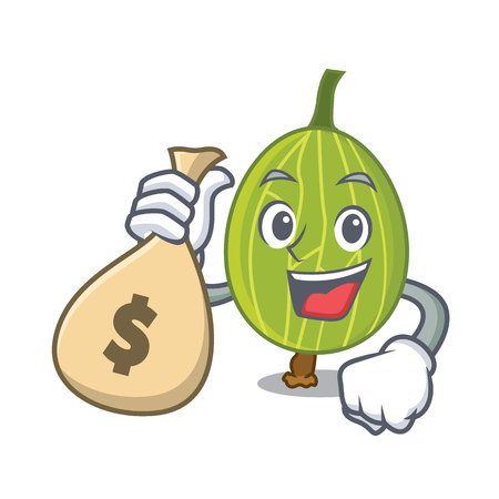 With money bag gooseberry character cartoon style vector illustration Stock Illustratie