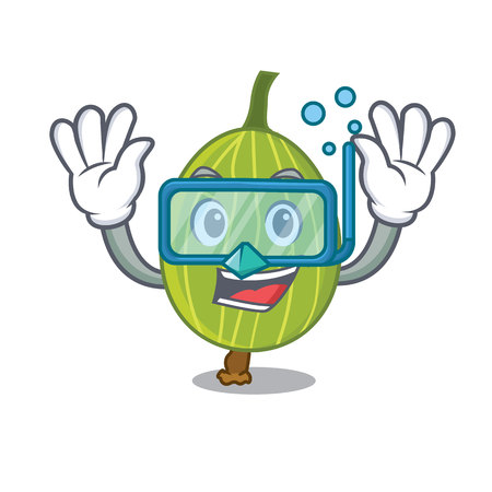 Diving gooseberry character cartoon style vector illustration