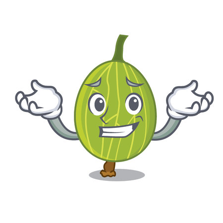 Grinning gooseberry character cartoon style vector illustration