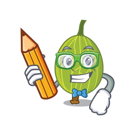 Student gooseberry character cartoon style vector illustration