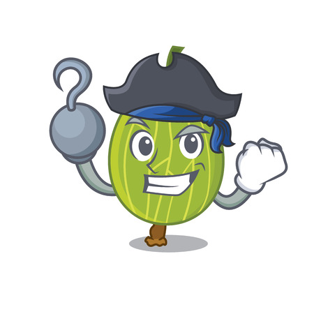 Pirate gooseberry character cartoon style vector illustration
