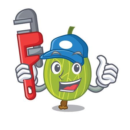 Plumber gooseberry mascot cartoon style vector illustration