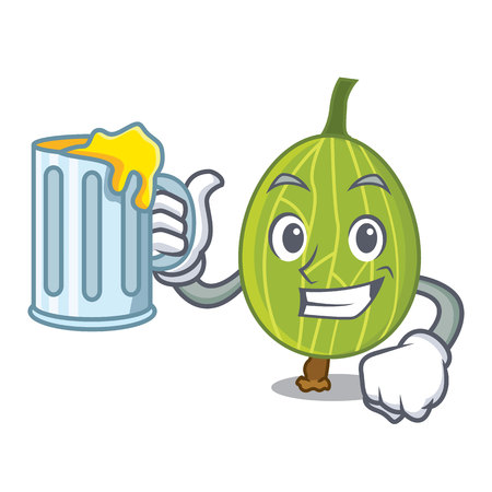 With juice gooseberry mascot cartoon style vector illustration