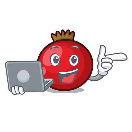 With laptop red currant character cartoon vector illustration