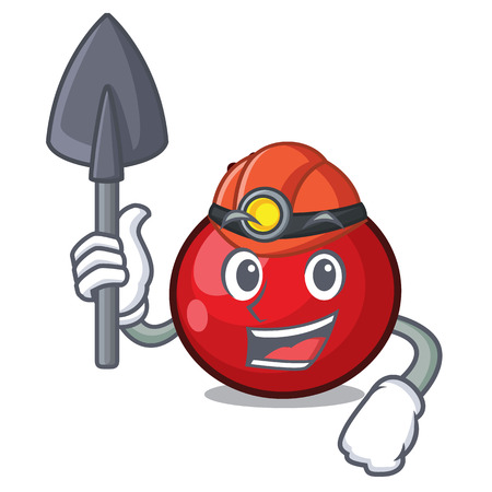 Miner red currant mascot cartoon vector illustration