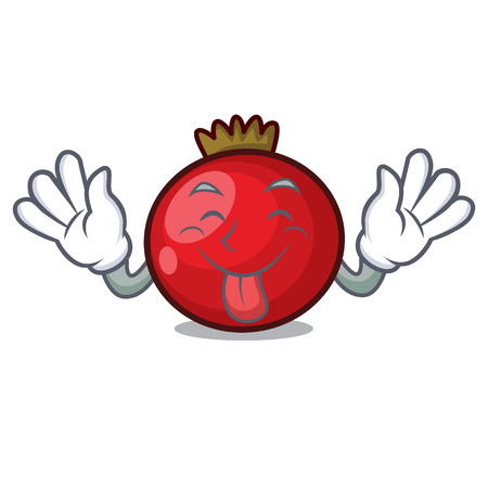 Tongue out red currant mascot cartoon vector illustration