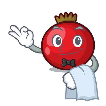 Waiter red currant mascot cartoon vector illustration
