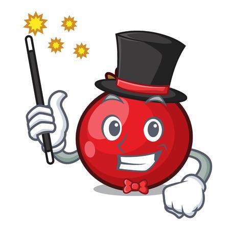 Magician red currant mascot cartoon vector illustration Illusztráció