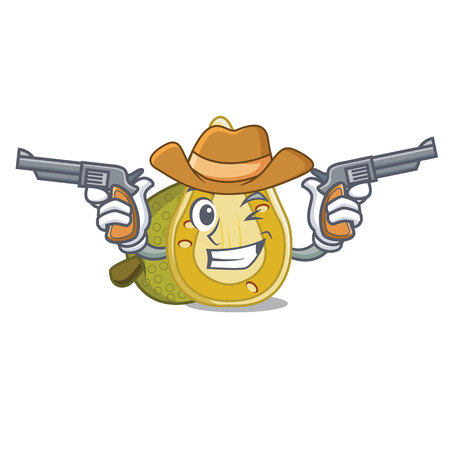 Cowboy jackfruit character cartoon style vector illustration Illustration
