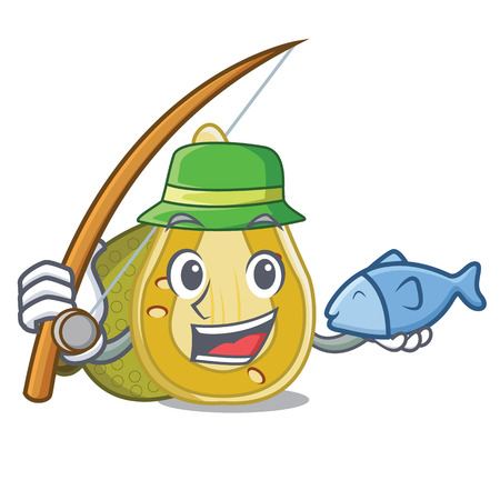 Fishing jackfruit mascot cartoon style vector illustration Illustration