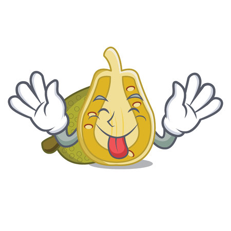 Tongue out jackfruit mascot cartoon style