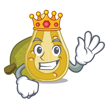 King jack fruit mascot cartoon style illustration.