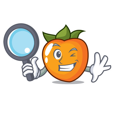 Detective persimmon character cartoon style vector illustration