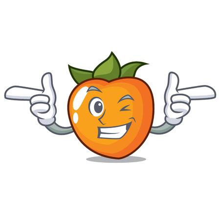 Wink persimmon character cartoon style vector illustration  イラスト・ベクター素材
