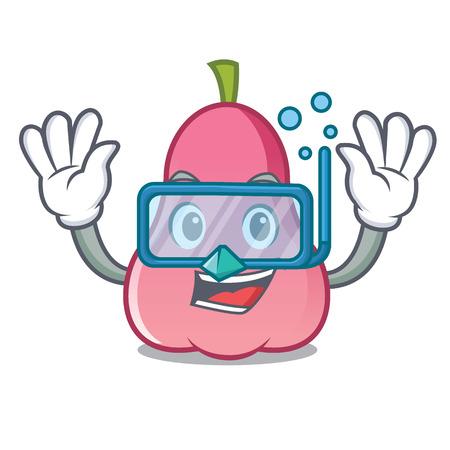 Diving rose apple character cartoon Çizim