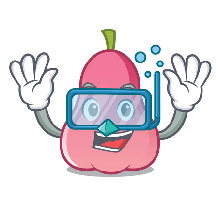 Diving rose apple character cartoon Illustration
