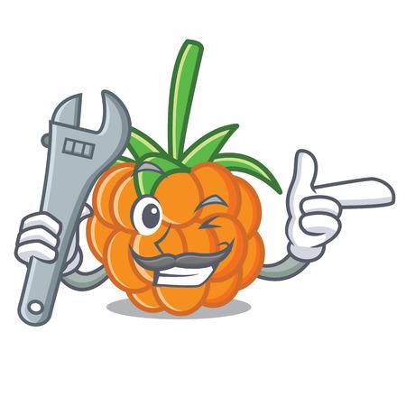 Mechanic cloudberry mascot cartoon style vector illustration Illustration