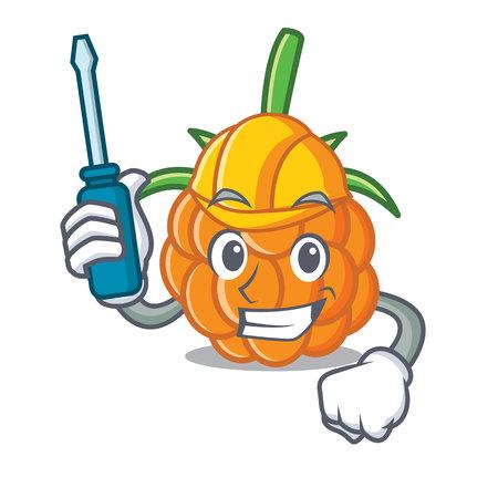 Automotive cloudberry mascot cartoon style vector illustration