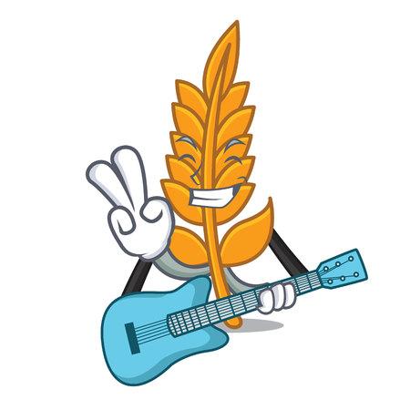 With guitar wheat mascot cartoon style vector illustration