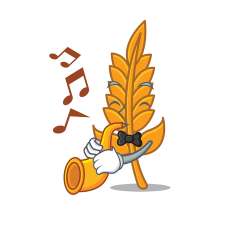 With trumpet wheat mascot cartoon style vector illustration Illustration