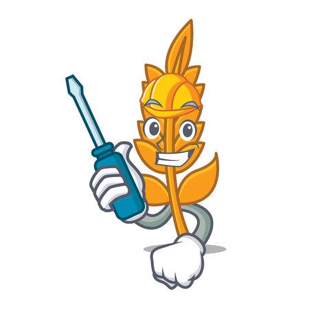 Automotive wheat mascot cartoon style vector illustration