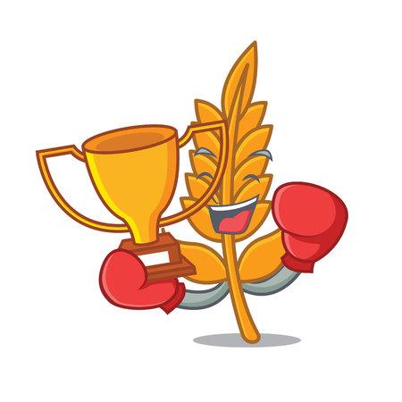 Boxing winner wheat mascot cartoon style vector illustration