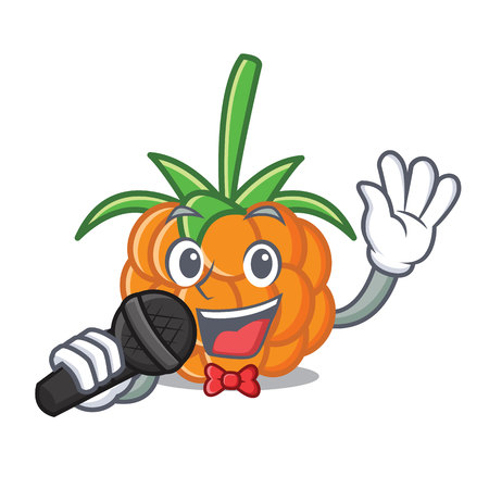 Singing cloudberry mascot cartoon style vector illustration
