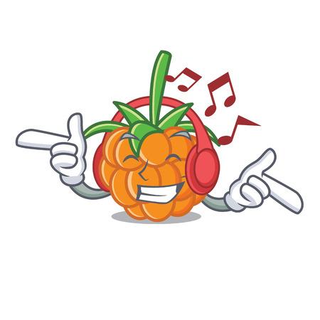 Listening music cloudberry mascot cartoon style vector illustration
