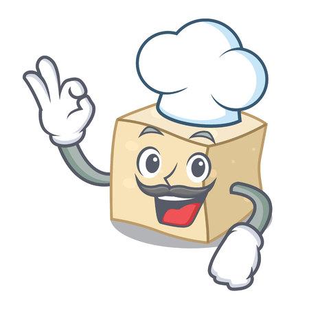 Chef tofu character cartoon style vector illustration  イラスト・ベクター素材