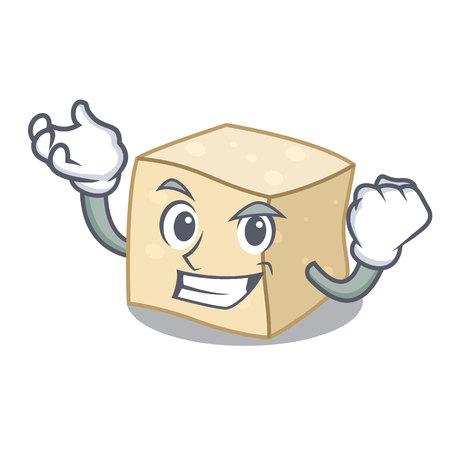 Successful tofu character cartoon style vector illustration