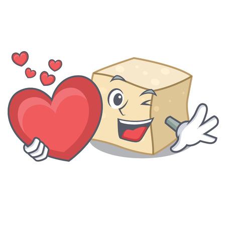 With heart tofu mascot cartoon style vector illustration