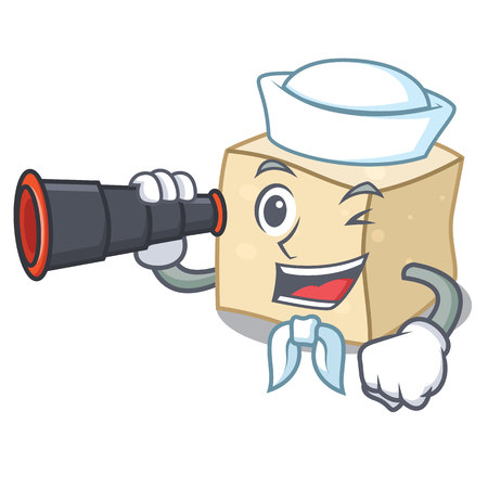 Sailor with binocular tofu mascot cartoon style