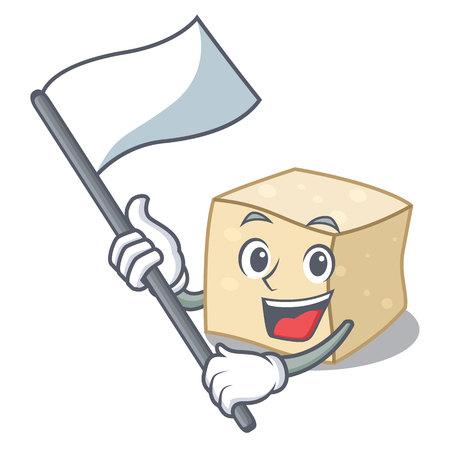 With flag tofu mascot cartoon style vector illustration