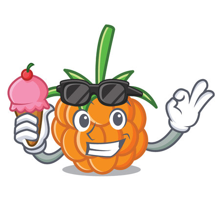 With ice cream cloudberry character cartoon style vector illustration