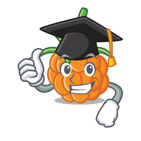 Graduation cloudberry character cartoon style vector illustration Illustration