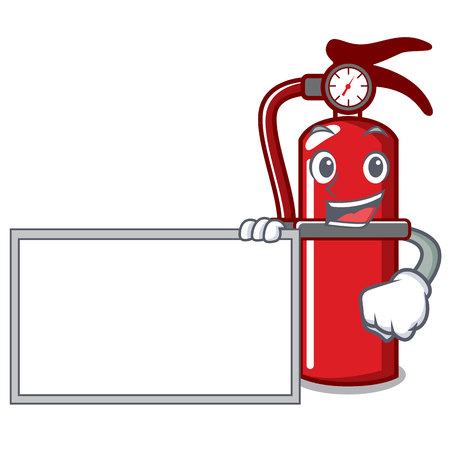 Fire extinguisher character cartoon vector illustration with a board