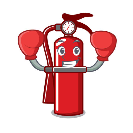 Boxing fire extinguisher character cartoon Vectores