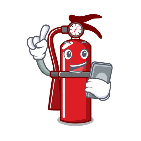 With phone fire extinguisher character cartoon