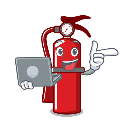 With laptop fire extinguisher character cartoon