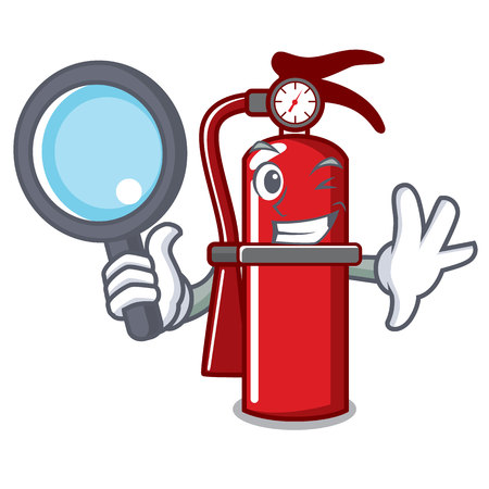 Detective fire extinguisher character cartoon Vettoriali