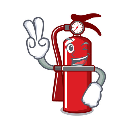 Two finger fire extinguisher character cartoon