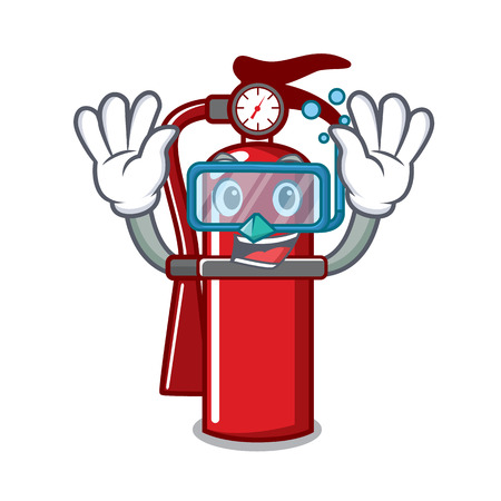 Diving fire extinguisher character cartoon