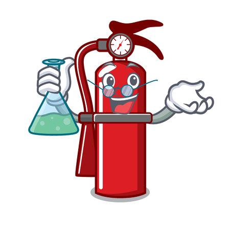 Professor fire extinguisher character cartoon