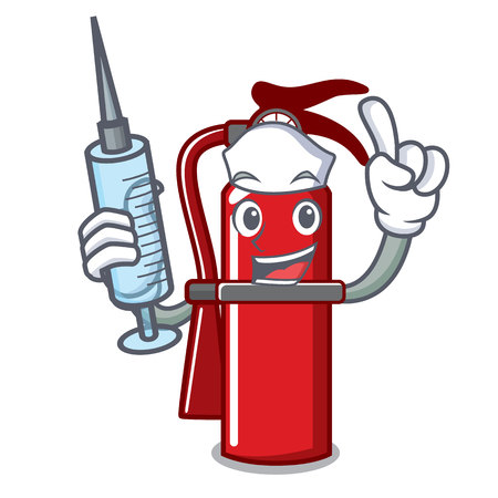 Nurse fire extinguisher character cartoon Illustration