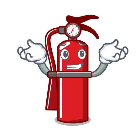 Grinning fire extinguisher character cartoon